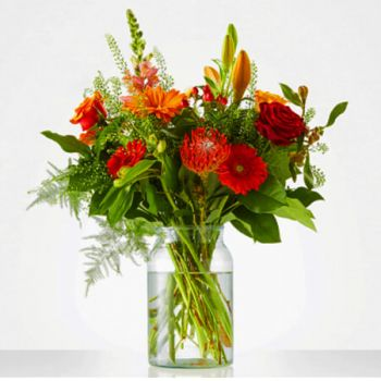 Bovensmilde blomster- Bouquet smuk orange Blomst Levering