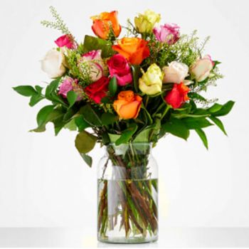 Doorn flowers  -  Bouquet of Colorful Roses Flower Delivery