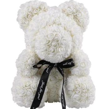 Trinidad online Florist - Luxury White Rose Teddy Bouquet