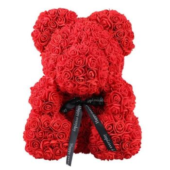 Trinidad online Florist - Luxury Red Rose Teddy Bouquet