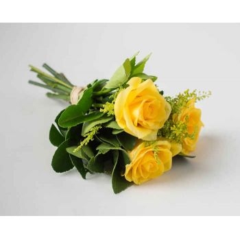 Salvador online Florist - Bouquet of 3 Yellow Roses Bouquet