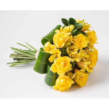Belém online Florist - Bouquet of Roses and Yellow Astromelia Bouquet