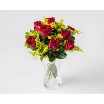Belém online Florist - Arrangement of 8 Red Roses in Vase Bouquet