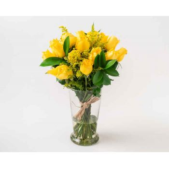 Rio De Janeiro flowers  -  Arrangement of 17 Yellow Roses in Vase Flower Bouquet/Arrangement