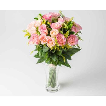 Belém online Florist - Arrangement of 20 Pink Roses in Vase Bouquet