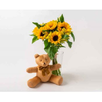 Passo Fundo flowers  -  Sunflowers in Vase and Teddybear Delivery