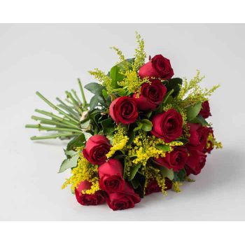 Salvador online Florist - Special Bouquet of 15 Red Roses and Foliage Bouquet
