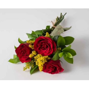Recife online Florist - Arrangement of 3 Red Roses Bouquet