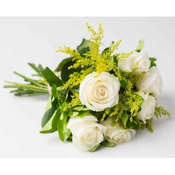 Colombo flowers  -  Bouquet of 8 White Roses Flower Delivery