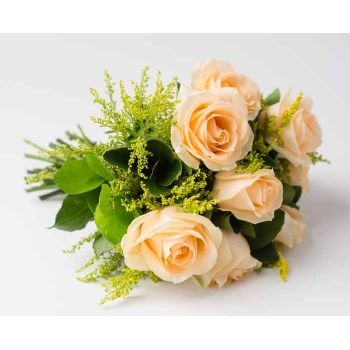 Belém flowers  -  Bouquet of 8 Champagne Roses Flower Delivery