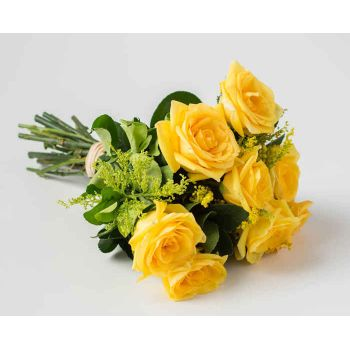 Recife online Florist - Bouquet of 8 Yellow Roses Bouquet