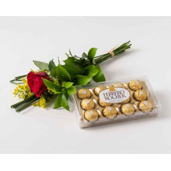 Salvador online Florist - Solitary Red Rose and Chocolate Bouquet