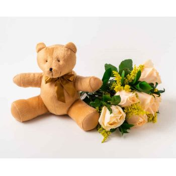 Passo Fundo flowers  -  Bouquet of 8 Champagne and Teddybear Roses Delivery