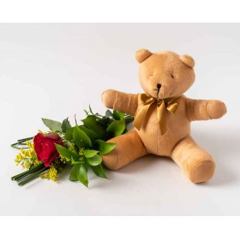 Recife Florarie online - Red și Teddybear Lonely Rose Buchet