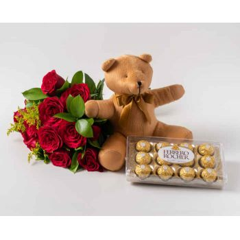 Mossoró flowers  -  Bouquet of 12 Red Roses, Teddybear and Chocol Delivery