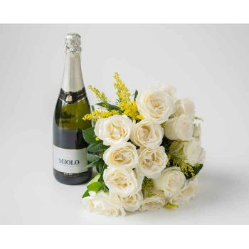 Salvador online Florist - Bouquet of 18 White Roses and Sparkling Wine Bouquet