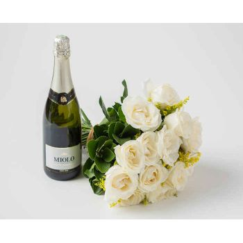 Belém online Florist - Traditional Bouquet of 16 White Roses and Spa Bouquet