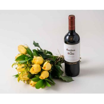Belém online Florist - Bouquet of 15 Yellow Roses and Red Wine Bouquet