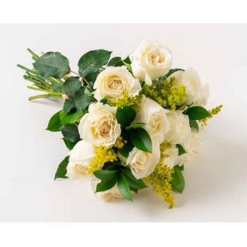 Belém online Florist - Bouquet of 15 White Roses and Foliage Bouquet