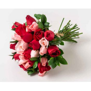 Marabá flowers  -  Bouquet of 32 Two-Color Roses Flower Delivery