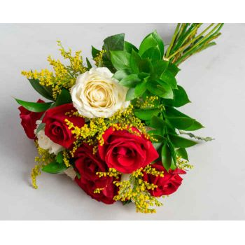Belém flowers  -  Bouquet of 10 White and Red Roses Flower Delivery