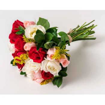 Ferraz de Vasconcelos flowers  -  Bouquet of 24 Roses of Three Colors Flower Delivery
