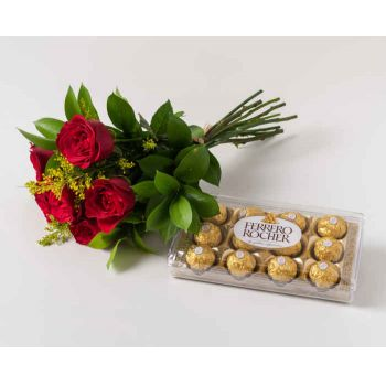 Belém online Florist - Bouquet of 6 Red Roses and Chocolates Bouquet