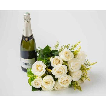 Rio De Janeiro flowers  -  Bouquet of 15 White Roses and Sparkling Wine Flower Bouquet/Arrangement