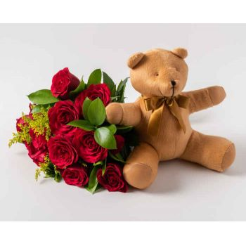 Mossoró flowers  -  Bouquet of 12 Red Roses and Teddybear Delivery
