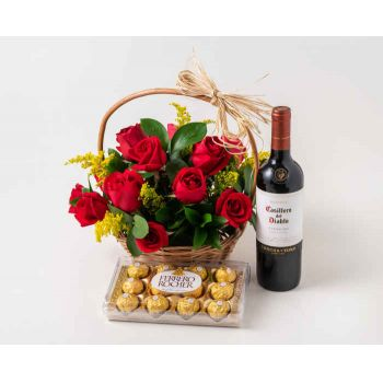 Salvador online Florist - Basket with 15 Red Roses, Chocolate and Red W Bouquet