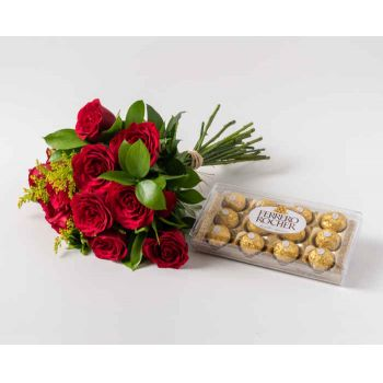Mossoró flowers  -  Bouquet of 12 Red Roses and Chocolate Flower Delivery