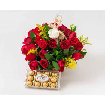 Suzano flowers  -  Basket with 39 Red Roses and 1 Solitary Rose  Flower Delivery