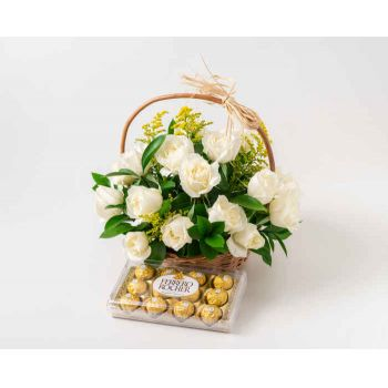 Salvador online Florist - Basket with 24 White Roses and Chocolates Bouquet
