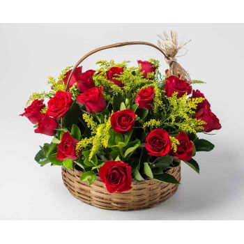 Recife online Florist - Basket with 28 Red Roses Bouquet