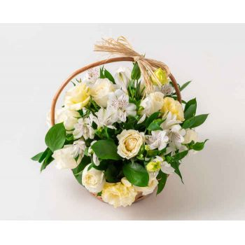 Belém online Florist - Basket of White Field Flowers Bouquet