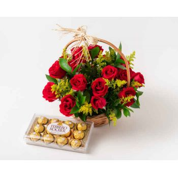 Salvador online Florist - Basket with 24 Red Roses and Chocolate Bouquet