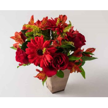 Belém flowers  -  Mixed Red Flower Arrangement Flower Bouquet/Arrangement