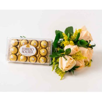 Belém online Florist - Bouquet of 8 Champagne and Chocolate Roses Bouquet