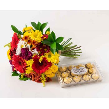 Passo Fundo flowers  -  Large Bouquet of Colorful and Chocolate Field Flower Delivery