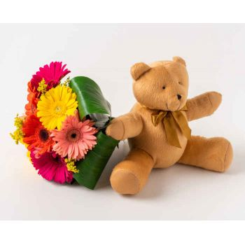 Ferraz de Vasconcelos flowers  -  Bouquet of 8 Gerberas and Teddybear Delivery