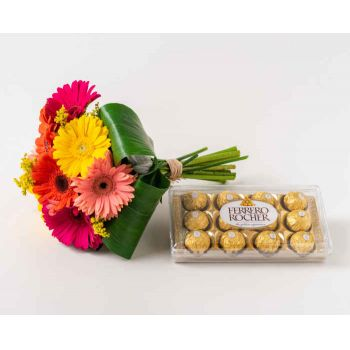 Marabá flowers  -  Bouquet of 8 Colorful Gerberas and Chocolates Flower Delivery