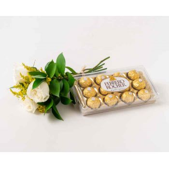 Salvador online Florist - Bouquet of 3 White Roses and Chocolate Bouquet