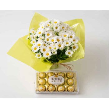 Belém online Florist - Vase of Daisies for Gift and Chocolate Bouquet