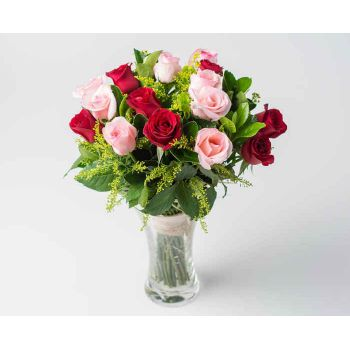 Angulo bunga- 36 Vase of Three Colors Roses Bunga Penghantaran