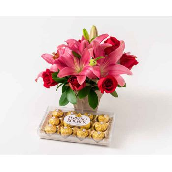 Belém online Florist - Arrangement of Lilies and Chocolate Bouquet