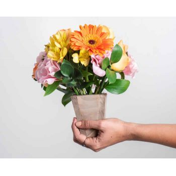 Belém online Florist - Arrangement of Gerberas, Field Flowers and Ro Bouquet
