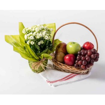 Belém online Florist - Small Basket of Fruits and Flowers Bouquet