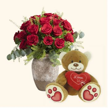 Valencia flowers  -  Pack 24 red roses + Teddy bear heart Delivery
