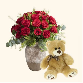 Begues Fleuriste en ligne - Pack 24 roses rouges + Ours en peluche Bouquet