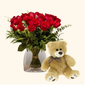 Zaragoza flowers  -  Pack 18 red roses + Teddy bear Delivery